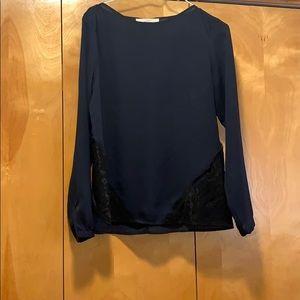 Loft navy long sleeve blouse